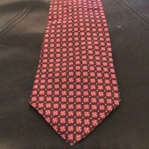 Via Europa Pink and Red Patterned Extra Long Tie